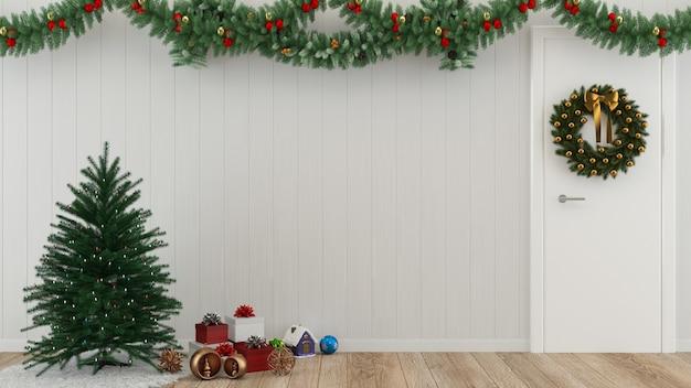 Weihnachtsgeschenkholzwandboden-baumschablonenhintergrund-dekorationsschabloneninnenraum