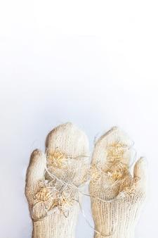 Weihnachtsgirlande in händen in gestrickten weißen handschuhen gekleidet