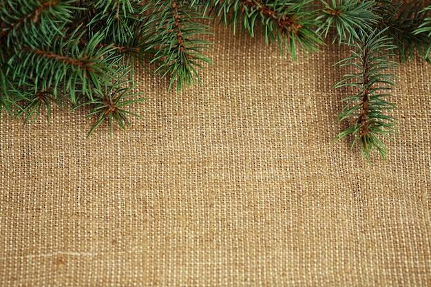 Weihnachtsgrenze vom natürlichen zweig des tannenbaums auf sackleinenhintergrund