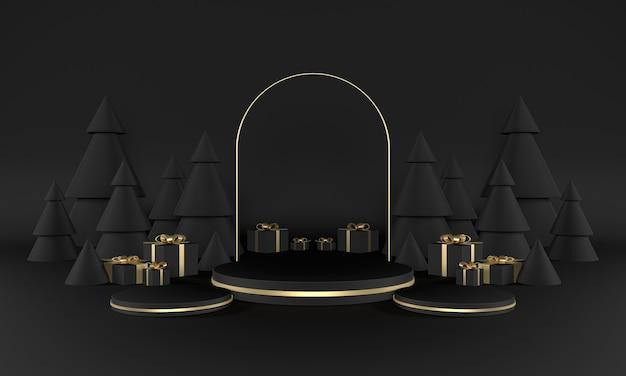 Weihnachtsgrüne thema produktbühne mit baum und sternen für promo oder banner 3d illustration premium fotos