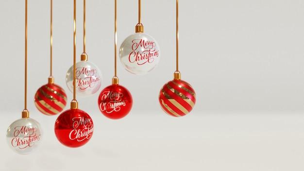 Weihnachtsgruß mit realistischen balldekorationselementen