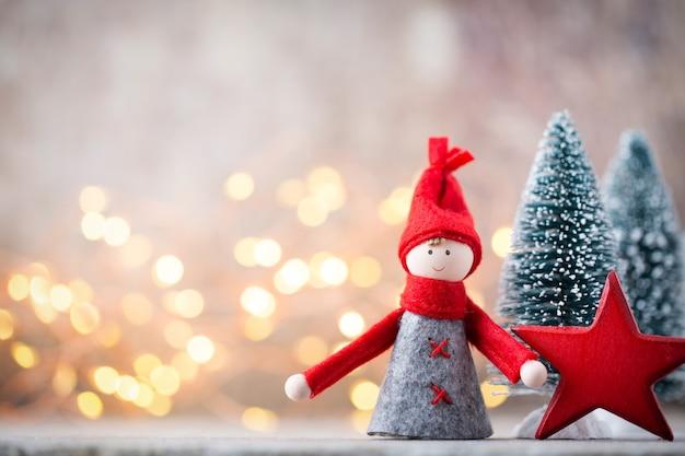 Weihnachtsgrußkarte. gnome festlicher hintergrund.