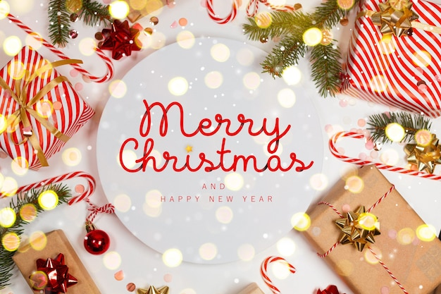 Weihnachtsgrußkarte mit geschenkbox