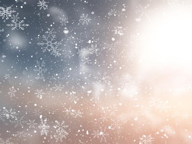 Weihnachtshintergrund mit einem schneebedeckten entwurf