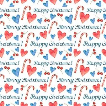 Weihnachtshintergrund mit fröhlicher weihnachtsbeschriftung und handgezeichneten roten und blauen herzen