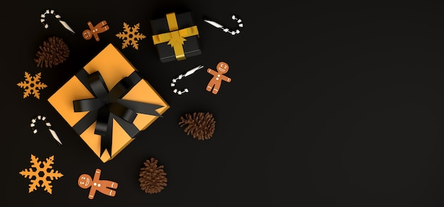 Weihnachtshintergrund mit goldenen geschenken mit tannenzapfen-lebkuchenmännern und zuckerstangen