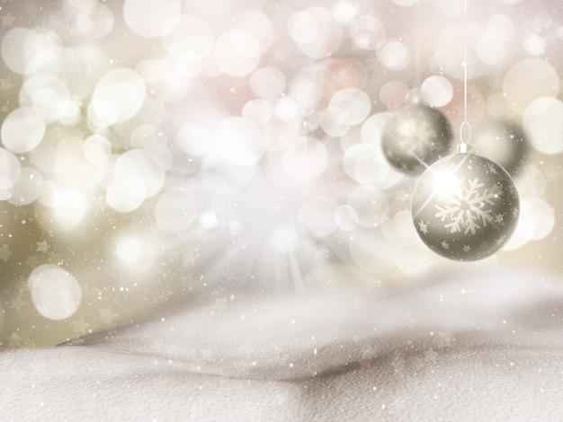 Weihnachtshintergrund mit hängender kugel