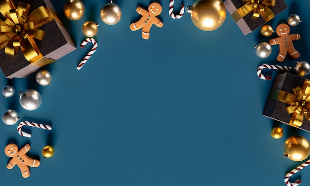 Weihnachtshintergrund mit lebkuchenmännern und -geschenken