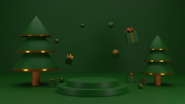 Weihnachtshintergrund mit podium für eine produktpräsentation
