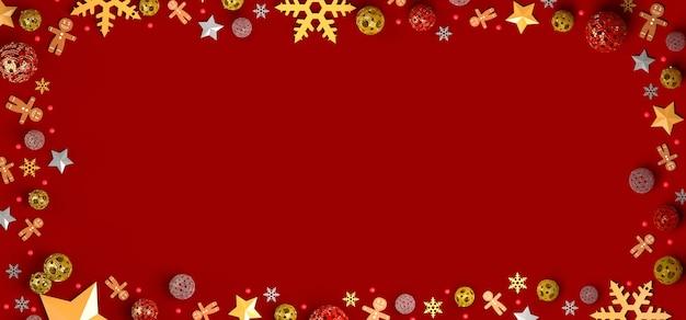 Weihnachtshintergrund mit sternenschneeflockenlebkuchenmännern und baumbällen