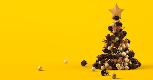 Weihnachtshintergrund mit weihnachtsbaum mit kugeln lebkuchenmänner zuckerstangen und tannenzapfen