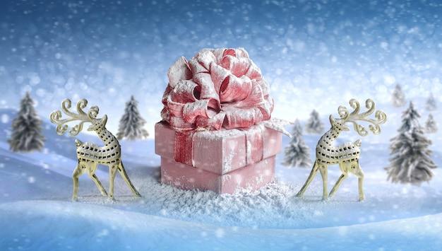 Weihnachtshirsch. geschenkbox für weihnachten, neujahr