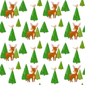 Weihnachtshirsch, wald nahtloses muster