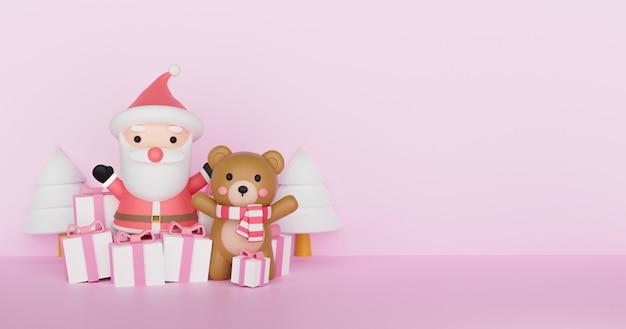 Weihnachtsillustration mit weihnachtsmannklausel und niedlichem bären. 3d-rendering.