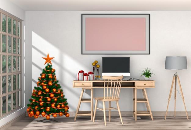 Weihnachtsinnenarbeitsplatz mit computer. 3d-rendering
