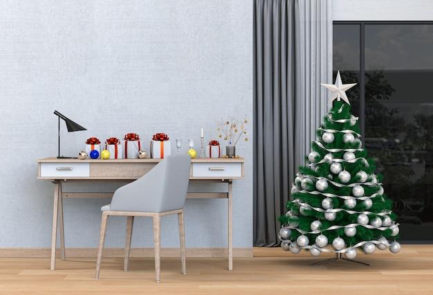 Weihnachtsinnenraum für den arbeitsplatz. 3d-rendering