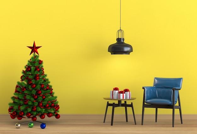 Weihnachtsinnenwohnzimmer. 3d-rendering