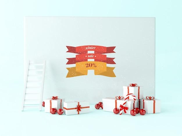 Weihnachtskarte des grußes 3d mit geschenkkästen und weihnachtsdekoration