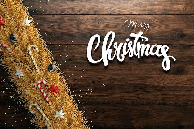 Weihnachtskarte, grüne niederlassungen eines weihnachtsbaums, verziert mit bällen, sternen, süßigkeit und schneeflocken