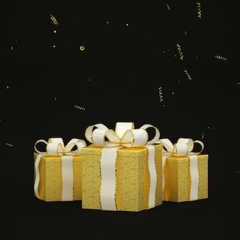 Weihnachtskarte mit goldenen geschenken auf dunkelheit