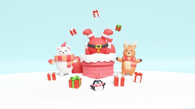 Weihnachtskarte mit weihnachtsmann, bär und rentier