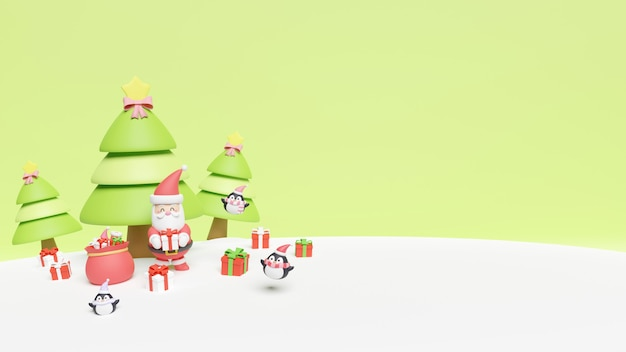 Weihnachtskarte mit weihnachtsmann und pinguinen