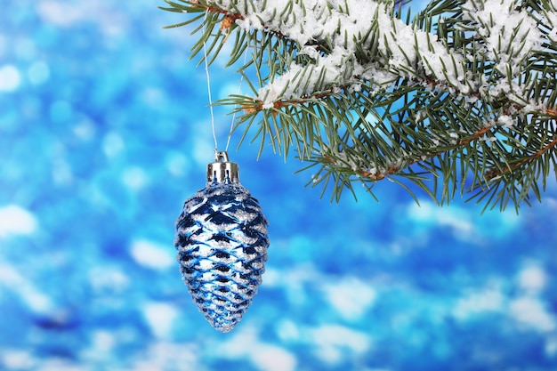 Weihnachtskegel am baum auf blau