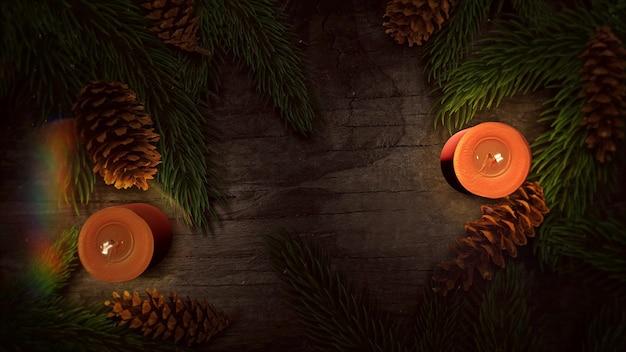 Weihnachtskerze und grüne äste auf holzhintergrund. luxuriöse und elegante 3d-darstellung im dynamischen stil für den winterurlaub