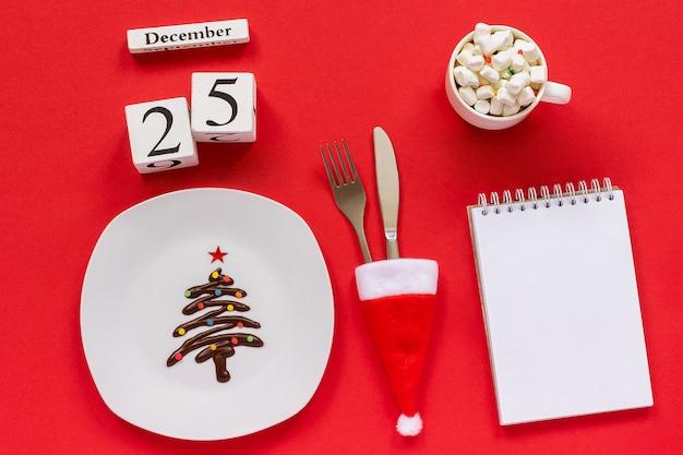 Weihnachtskomposition kalender 25. dezember