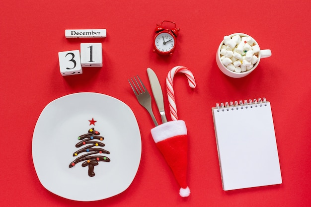 Weihnachtskomposition kalender 31. dezember