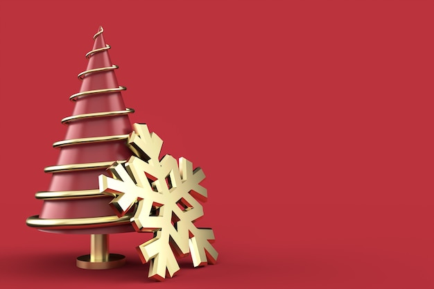 Weihnachtskomposition mit abstraktem weihnachtsbaum und ornamenten