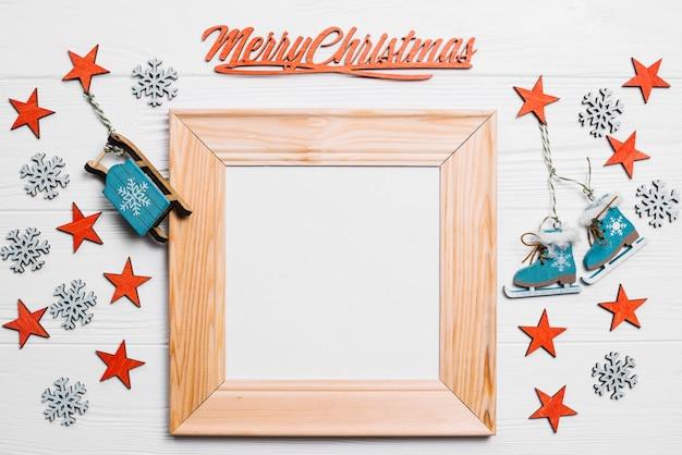 Weihnachtskomposition mit rahmen und sternen