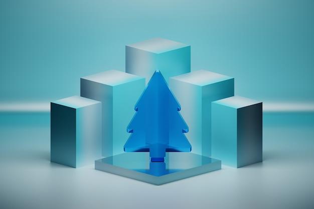 Weihnachtskomposition mit transparentem baum des blauen glases auf spiegelsockel auf blauer oberfläche