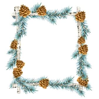 Weihnachtskranz im vintage-stil. feiertagsrahmen mit fichtenzweig lokalisiert auf weißem hintergrund