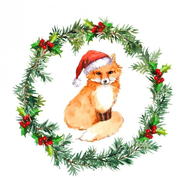 Weihnachtskranz mit fuchstier in roter weihnachtsmütze. aquarell