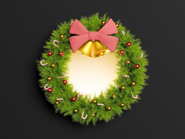 Weihnachtskranz mit glänzender mitte und dunklem hintergrund