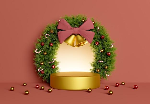 Weihnachtskranz und zylinder für produktpräsentation