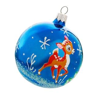 Weihnachtskugel christbaumkugel dekoration. blaue weihnachtskugel mit hirsch