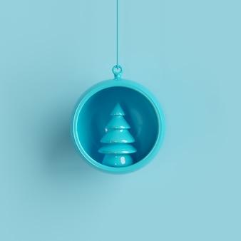 Weihnachtskugel der blauen verzierungen auf pastell