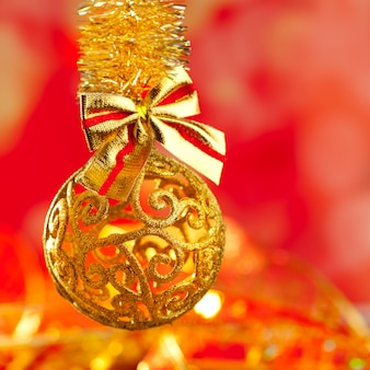 Weihnachtslametta goldene funkelnflitterschleife
