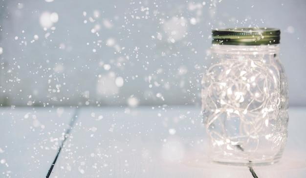 Weihnachtslichterketten in einem weckglas