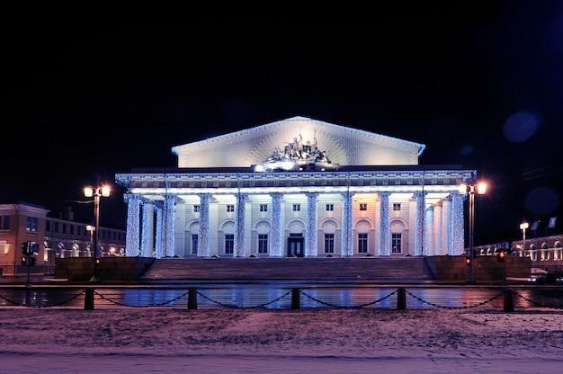 Weihnachtslichtmarineaustausch in st petersburg, russland