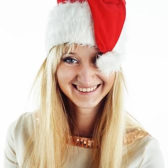 Weihnachtsmädchen auf weiß