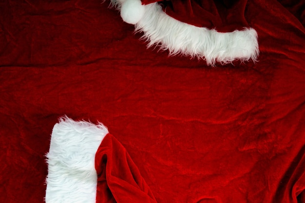 Weihnachtsmann-anzug, kostümgewebehintergrundbeschaffenheit, weihnachtskonzeptnahaufnahme