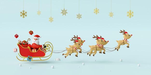 Weihnachtsmann auf einem schlitten, der durch rentier-3d-rendering gezogen wird