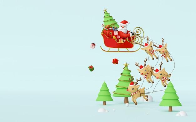 Weihnachtsmann auf einem schlitten, der durch rentier-3d-rendering-hintergrund gezogen wird