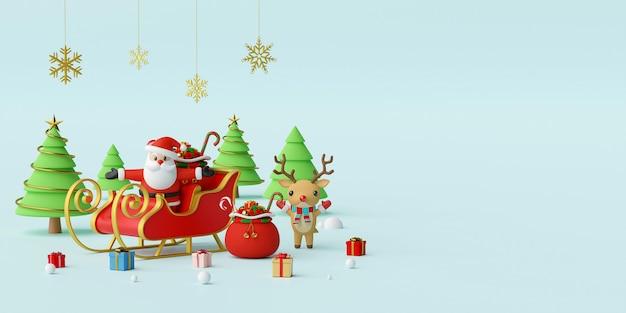 Weihnachtsmann auf einem schlitten mit 3d-rendering-hintergrund des rentiers 3d