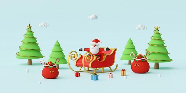 Weihnachtsmann auf einem schlitten mit weihnachtsgeschenken 3d rendering