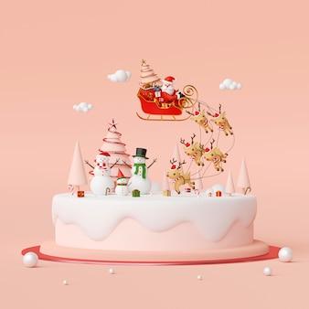 Weihnachtsmann auf einem schlitten voller weihnachtsgeschenke mit schneemann-3d-rendering