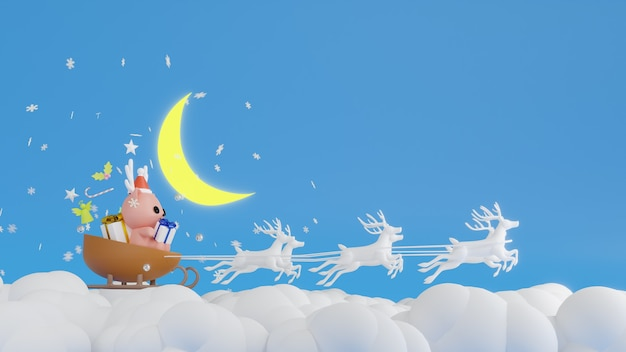 Weihnachtsmann, der einen schlitten während der weihnachtswiedergabe 3d reitet